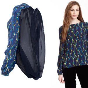 Winter Kate Blue Chiffon Silk Abstract Blouse